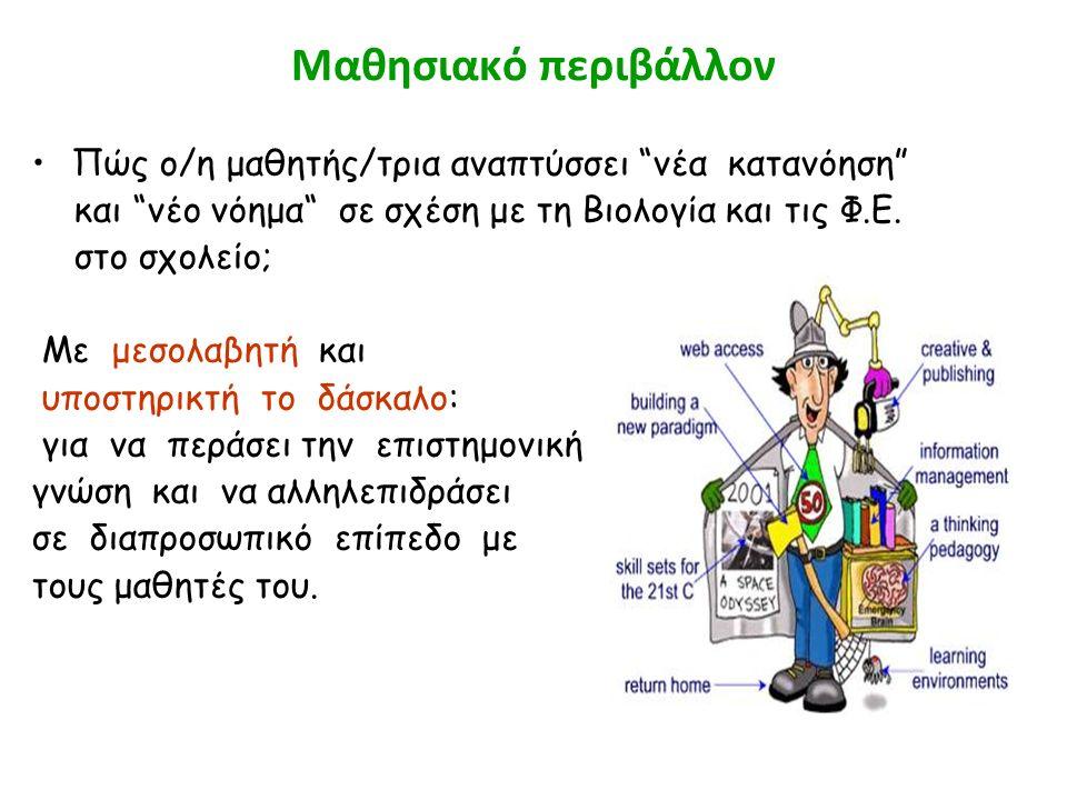 """Μαθησιακό περιβάλλον Πώς ο/η μαθητής/τρια αναπτύσσει """"νέα κατανόηση"""" και """"νέο νόημα"""" σε σχέση με τη Βιολογία και τις Φ.Ε. στο σχολείο; Με μεσολαβητή κ"""