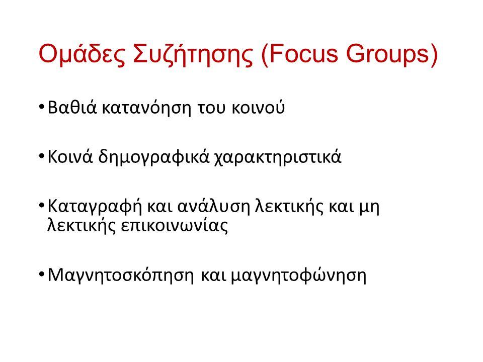 Ομάδες Συζήτησης (Focus Groups) Βαθιά κατανόηση του κοινού Κοινά δημογραφικά χαρακτηριστικά Καταγραφή και ανάλυση λεκτικής και μη λεκτικής επικοινωνίας Μαγνητοσκόπηση και μαγνητοφώνηση