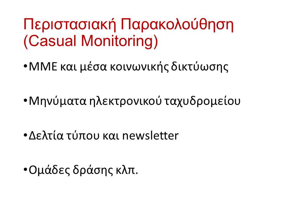 Περιστασιακή Παρακολούθηση (Casual Monitoring) ΜΜΕ και μέσα κοινωνικής δικτύωσης Μηνύματα ηλεκτρονικού ταχυδρομείου Δελτία τύπου και newsletter Ομάδες δράσης κλπ.