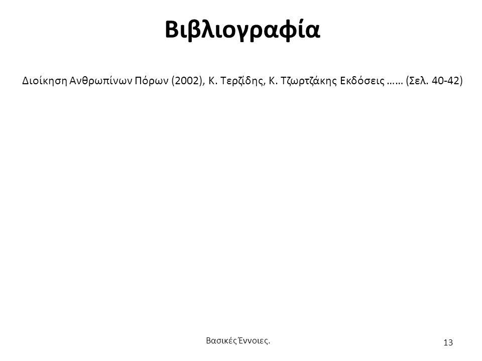 Βιβλιογραφία Διοίκηση Ανθρωπίνων Πόρων (2002), Κ. Τερζίδης, Κ.
