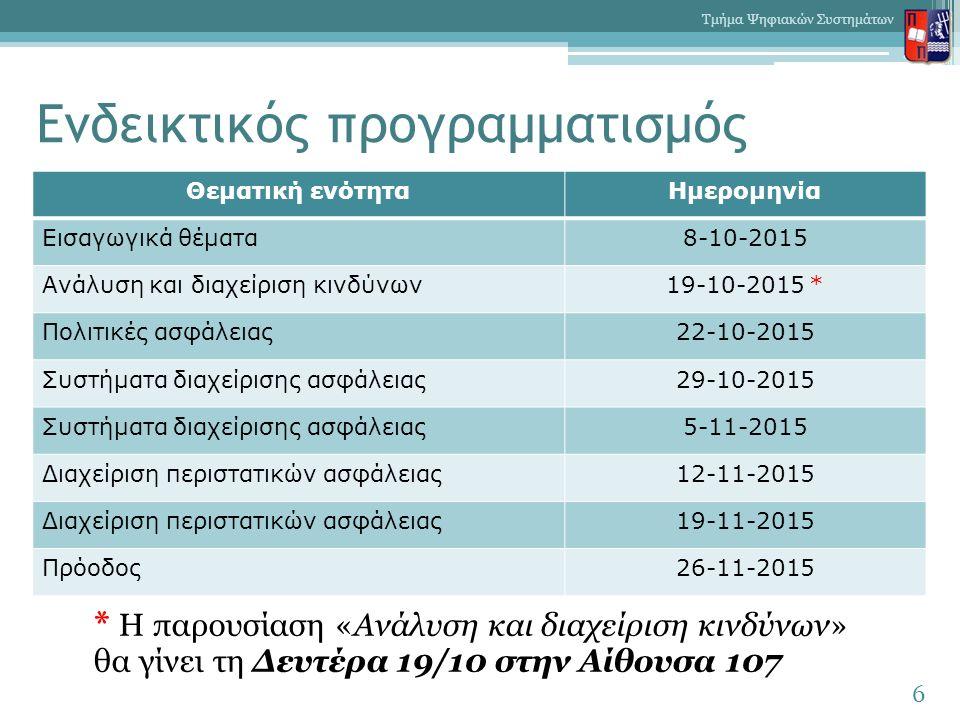 Ενδεικτικός προγραμματισμός * Η παρουσίαση «Ανάλυση και διαχείριση κινδύνων» θα γίνει τη Δευτέρα 19/10 στην Αίθουσα 107 6 Τμήμα Ψηφιακών Συστημάτων Θεματική ενότηταΗμερομηνία Εισαγωγικά θέματα8-10-2015 Ανάλυση και διαχείριση κινδύνων19-10-2015 * Πολιτικές ασφάλειας22-10-2015 Συστήματα διαχείρισης ασφάλειας29-10-2015 Συστήματα διαχείρισης ασφάλειας5-11-2015 Διαχείριση περιστατικών ασφάλειας12-11-2015 Διαχείριση περιστατικών ασφάλειας19-11-2015 Πρόοδος26-11-2015