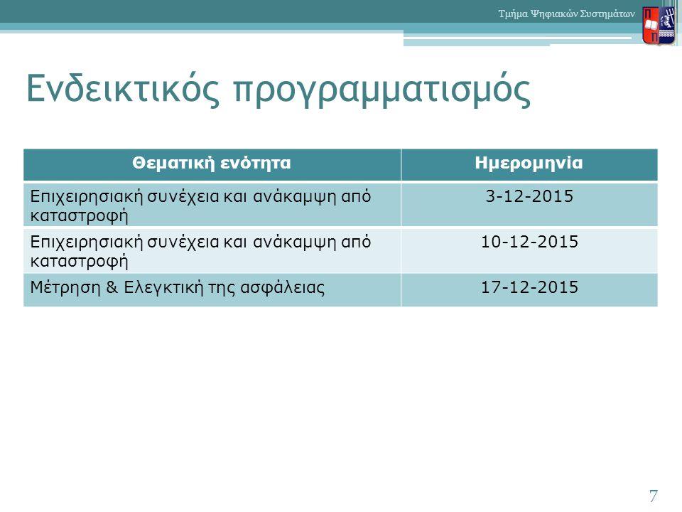 Ενδεικτικός προγραμματισμός 7 Τμήμα Ψηφιακών Συστημάτων Θεματική ενότηταΗμερομηνία Επιχειρησιακή συνέχεια και ανάκαμψη από καταστροφή 3-12-2015 Επιχειρησιακή συνέχεια και ανάκαμψη από καταστροφή 10-12-2015 Μέτρηση & Ελεγκτική της ασφάλειας17-12-2015