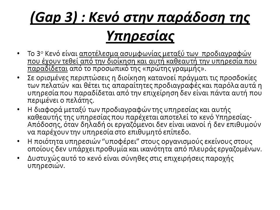 (Gap 3) : Κενό στην παράδοση της Υπηρεσίας Το 3 ο Κενό είναι αποτέλεσμα ασυμφωνίας μεταξύ των προδιαγραφών που έχουν τεθεί από την διοίκηση και αυτή καθεαυτή την υπηρεσία που παραδίδεται από το προσωπικό της «πρώτης γραμμής».
