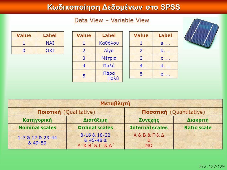 ValueLabel 1ΝΑΙ 0ΟΧΙ Κωδικοποίηση Δεδομένων στο SPSS Σελ.