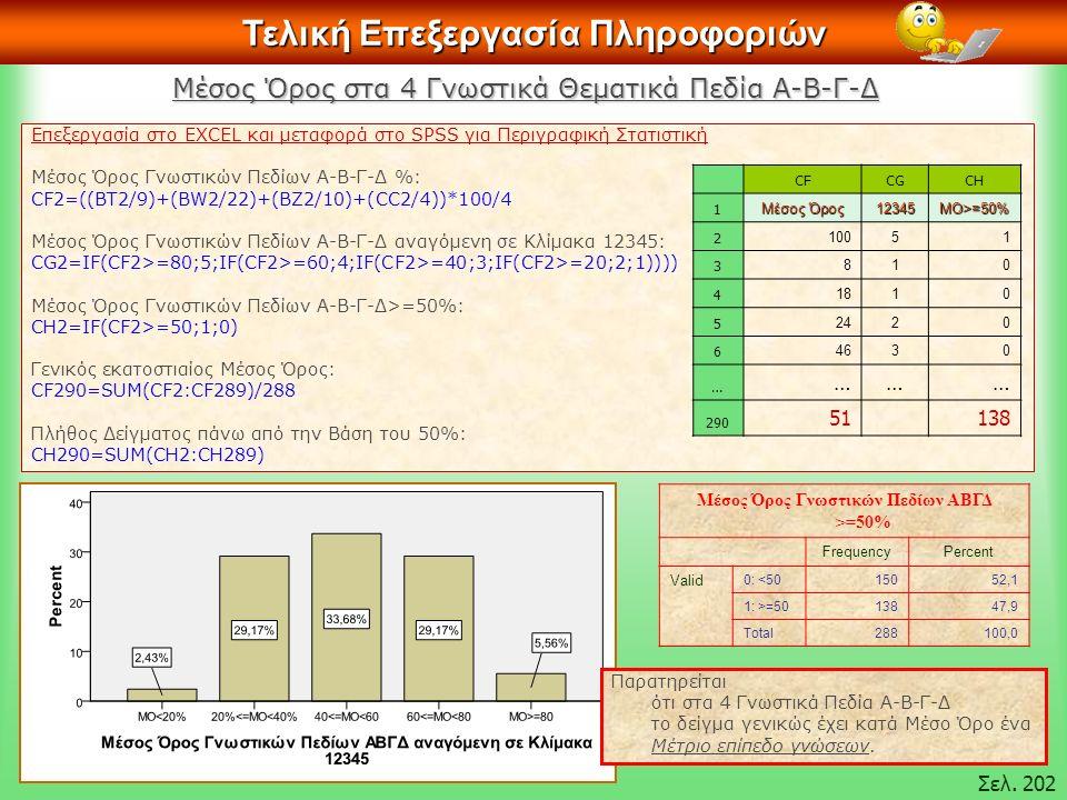 Τελική Επεξεργασία Πληροφοριών Επεξεργασία στο EXCEL και μεταφορά στο SPSS για Περιγραφική Στατιστική Μέσος Όρος Γνωστικών Πεδίων Α-Β-Γ-Δ %: CF2=((BT2/9)+(BW2/22)+(BZ2/10)+(CC2/4))*100/4 Μέσος Όρος Γνωστικών Πεδίων Α-Β-Γ-Δ αναγόμενη σε Κλίμακα 12345: CG2=IF(CF2>=80;5;IF(CF2>=60;4;IF(CF2>=40;3;IF(CF2>=20;2;1)))) Μέσος Όρος Γνωστικών Πεδίων Α-Β-Γ-Δ>=50%: CH2=IF(CF2>=50;1;0) Γενικός εκατοστιαίος Μέσος Όρος: CF290=SUM(CF2:CF289)/288 Πλήθος Δείγματος πάνω από την Βάση του 50%: CH290=SUM(CH2:CH289) CFCGCH 1 Μέσος Όρος 12345ΜΟ>=50% 2 10051 3 810 4 1810 5 2420 6 4630 … ……… 290 51138 Σελ.