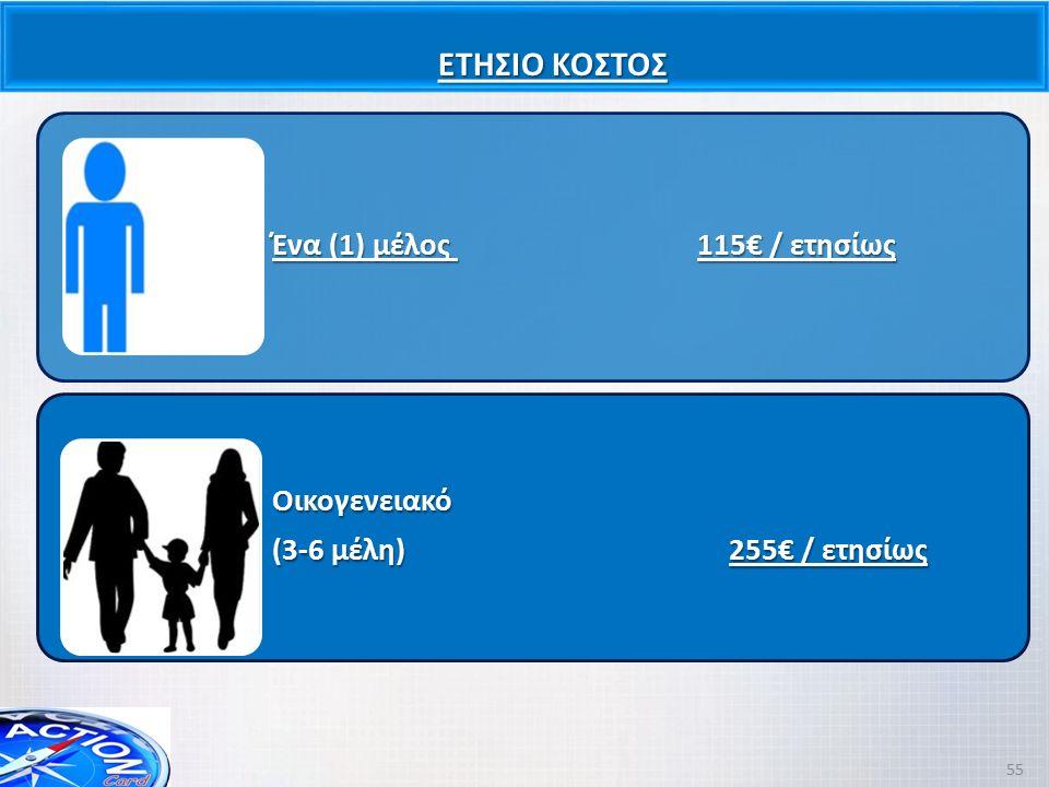 ΕΤΗΣΙΟ ΚΟΣΤΟΣ Ένα (1) μέλος 115€ / ετησίως Οικογενειακό (3-6 μέλη) 255€ / ετησίως 55