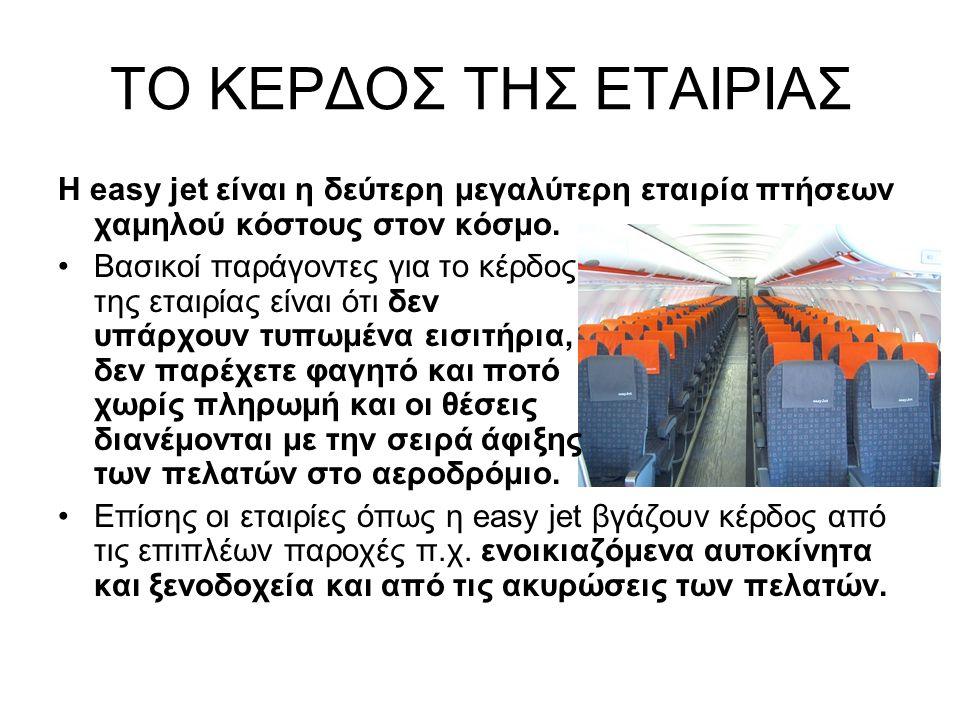 ΤΟ ΚΕΡΔΟΣ ΤΗΣ ΕΤΑΙΡΙΑΣ Η easy jet είναι η δεύτερη μεγαλύτερη εταιρία πτήσεων χαμηλού κόστους στον κόσμο.