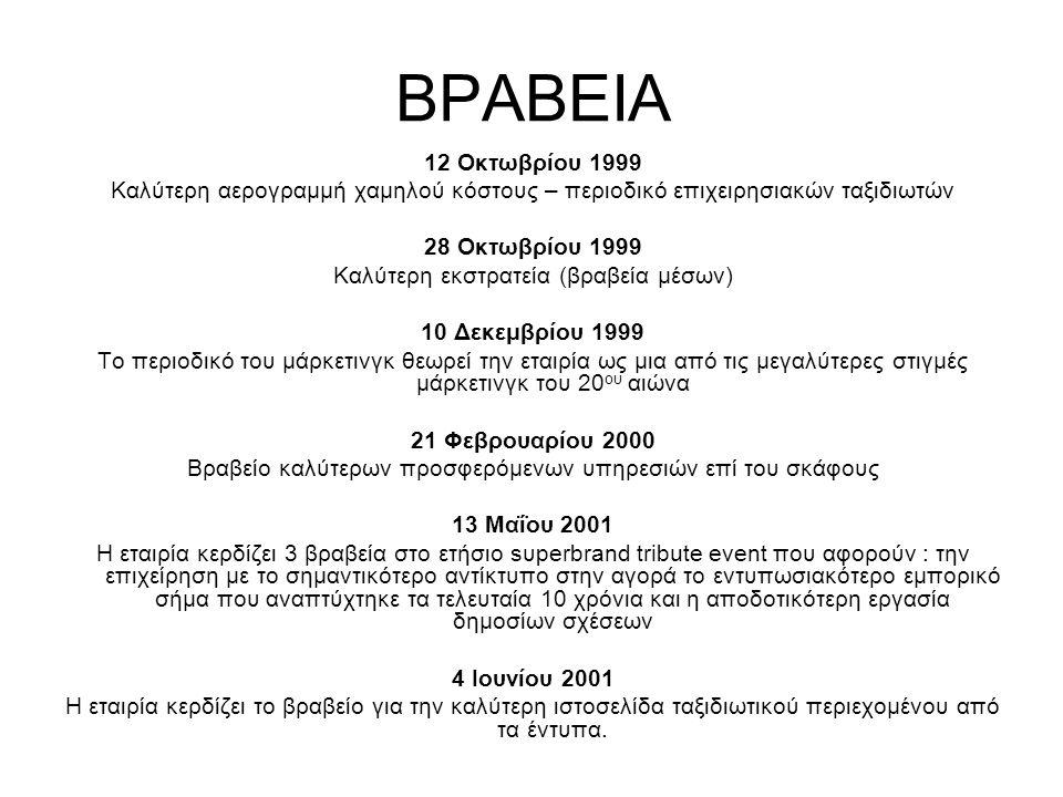 ΒΡΑΒΕΙΑ 12 Οκτωβρίου 1999 Καλύτερη αερογραμμή χαμηλού κόστους – περιοδικό επιχειρησιακών ταξιδιωτών 28 Οκτωβρίου 1999 Καλύτερη εκστρατεία (βραβεία μέσων) 10 Δεκεμβρίου 1999 Το περιοδικό του μάρκετινγκ θεωρεί την εταιρία ως μια από τις μεγαλύτερες στιγμές μάρκετινγκ του 20 ου αιώνα 21 Φεβρουαρίου 2000 Βραβείο καλύτερων προσφερόμενων υπηρεσιών επί του σκάφους 13 Μαΐου 2001 Η εταιρία κερδίζει 3 βραβεία στο ετήσιο sυperbrand tribute event που αφορούν : την επιχείρηση με το σημαντικότερο αντίκτυπο στην αγορά το εντυπωσιακότερο εμπορικό σήμα που αναπτύχτηκε τα τελευταία 10 χρόνια και η αποδοτικότερη εργασία δημοσίων σχέσεων 4 Ιουνίου 2001 Η εταιρία κερδίζει το βραβείο για την καλύτερη ιστοσελίδα ταξιδιωτικού περιεχομένου από τα έντυπα.