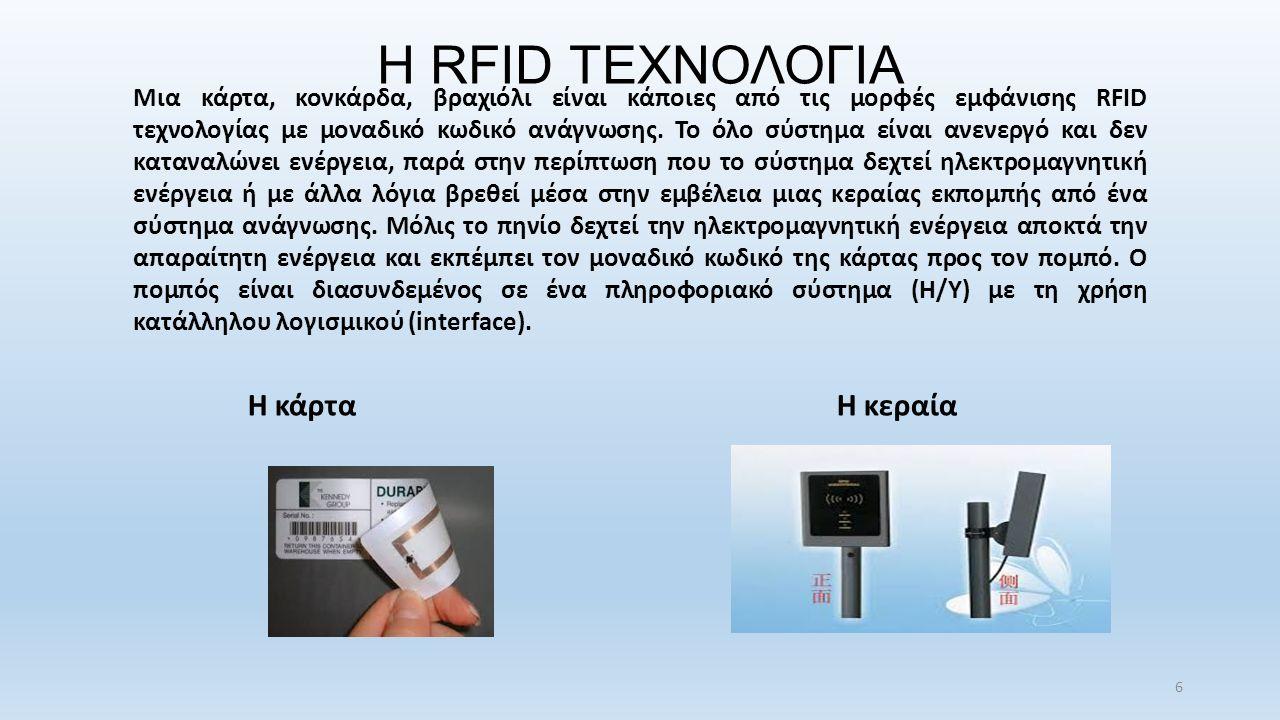 Η RFID ΤΕΧΝΟΛΟΓΙΑ Μια κάρτα, κονκάρδα, βραχιόλι είναι κάποιες από τις μορφές εμφάνισης RFID τεχνολογίας με μοναδικό κωδικό ανάγνωσης.