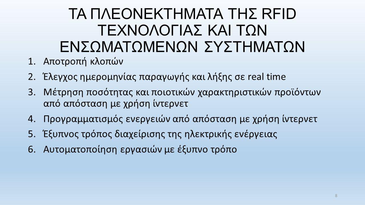 ΤΑ ΠΛΕΟΝΕΚΤΗΜΑΤΑ ΤΗΣ RFID ΤΕΧΝΟΛΟΓΙΑΣ ΚΑΙ ΤΩΝ ΕΝΣΩΜΑΤΩΜΕΝΩΝ ΣΥΣΤΗΜΑΤΩΝ 1.Αποτροπή κλοπών 2.Έλεγχος ημερομηνίας παραγωγής και λήξης σε real time 3.Μέτρηση ποσότητας και ποιοτικών χαρακτηριστικών προϊόντων από απόσταση με χρήση ίντερνετ 4.Προγραμματισμός ενεργειών από απόσταση με χρήση ίντερνετ 5.Έξυπνος τρόπος διαχείρισης της ηλεκτρικής ενέργειας 6.Αυτοματοποίηση εργασιών με έξυπνο τρόπο 8
