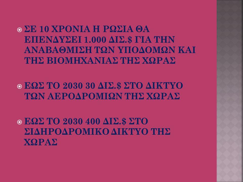  ΣΕ 10 ΧΡΟΝΙΑ Η ΡΩΣΙΑ ΘΑ ΕΠΕΝΔΥΣΕΙ 1.000 ΔΙΣ.$ ΓΙΑ ΤΗΝ ΑΝΑΒΑΘΜΙΣΗ ΤΩΝ ΥΠΟΔΟΜΩΝ ΚΑΙ ΤΗΣ ΒΙΟΜΗΧΑΝΙΑΣ ΤΗΣ ΧΩΡΑΣ  ΕΩΣ ΤΟ 2030 30 ΔΙΣ.$ ΣΤΟ ΔΙΚΤΥΟ ΤΩΝ ΑΕΡΟΔΡΟΜΙΩΝ ΤΗΣ ΧΩΡΑΣ  ΕΩΣ ΤΟ 2030 400 ΔΙΣ.$ ΣΤΟ ΣΙΔΗΡΟΔΡΟΜΙΚΟ ΔΙΚΤΥΟ ΤΗΣ ΧΩΡΑΣ