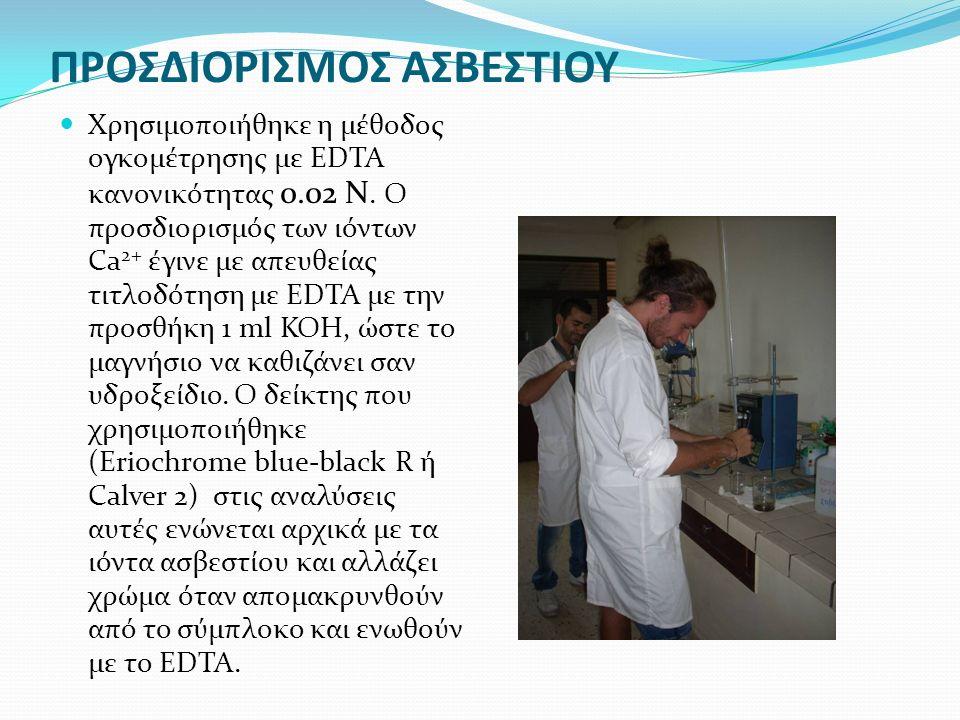 ΠΡΟΣΔΙΟΡΙΣΜΟΣ ΑΣΒΕΣΤΙΟΥ Χρησιμοποιήθηκε η μέθοδος ογκομέτρησης με EDTA κανονικότητας 0.02 N.
