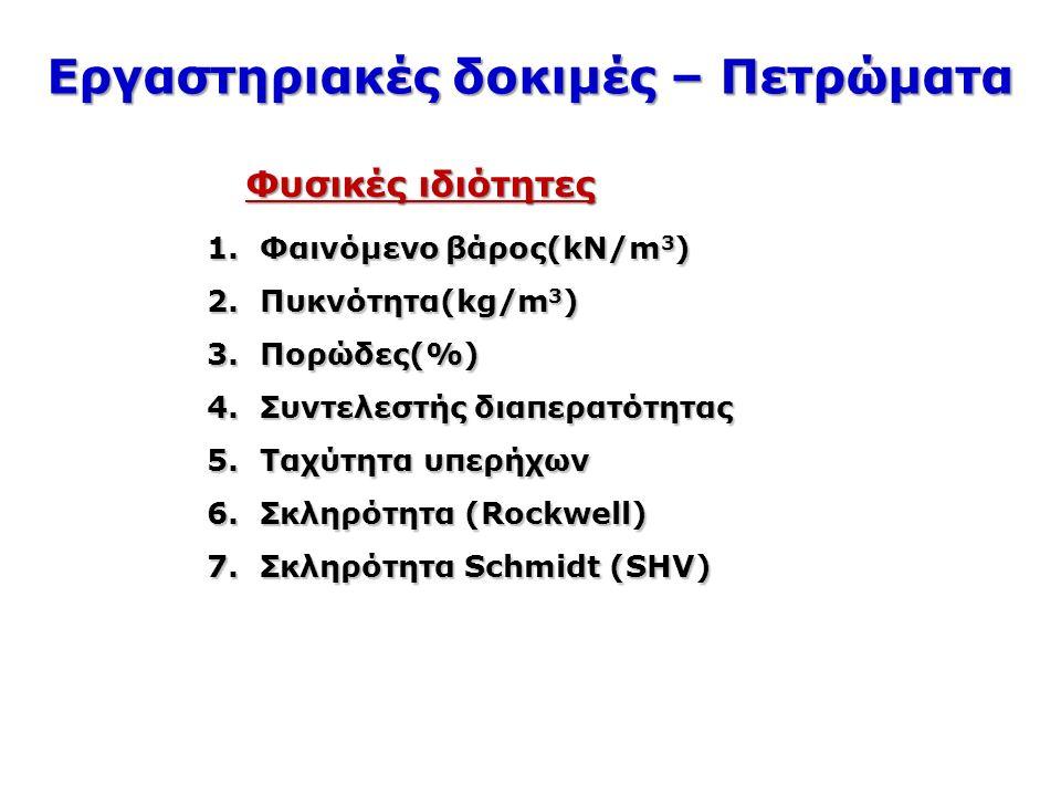 Εργαστηριακές δοκιμές – Πετρώματα Φυσικές ιδιότητες 1.Φαινόμενο βάρος(kN/m 3 ) 2.Πυκνότητα(kg/m 3 ) 3.Πορώδες(%) 4.Συντελεστής διαπερατότητας 5.Ταχύτητα υπερήχων 6.Σκληρότητα (Rockwell) 7.Σκληρότητα Schmidt (SHV)