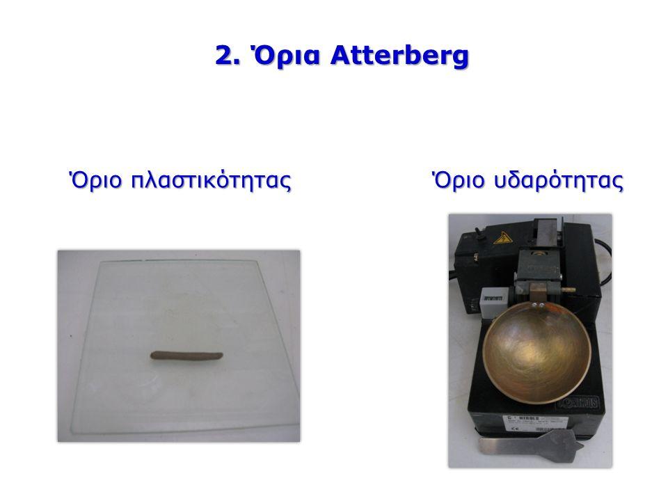 2. Όρια Atterberg Όριο πλαστικότητας Όριο υδαρότητας
