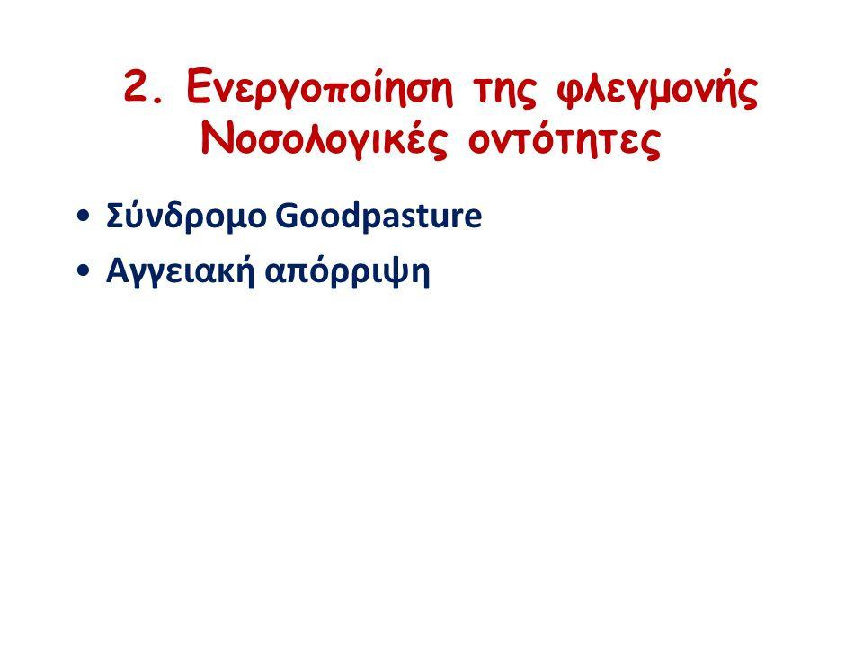 2. Ενεργοποίηση της φλεγμονής Νοσολογικές οντότητες Σύνδρομο Goodpasture Αγγειακή απόρριψη