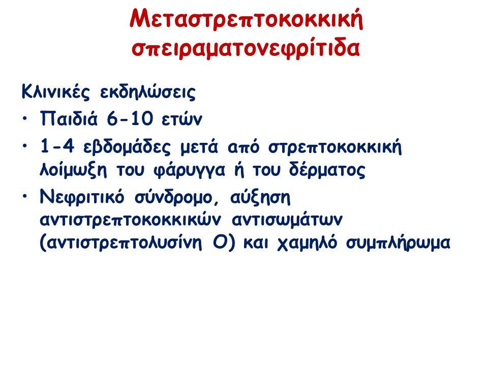 Μεταστρεπτοκοκκική σπειραματονεφρίτιδα Κλινικές εκδηλώσεις Παιδιά 6-10 ετών 1-4 εβδομάδες μετά aπό στρεπτοκοκκική λοίμωξη του φάρυγγα ή του δέρματος Νεφριτικό σύνδρομο, αύξηση αντιστρεπτοκοκκικών αντισωμάτων (αντιστρεπτολυσίνη O) και χαμηλό συμπλήρωμα