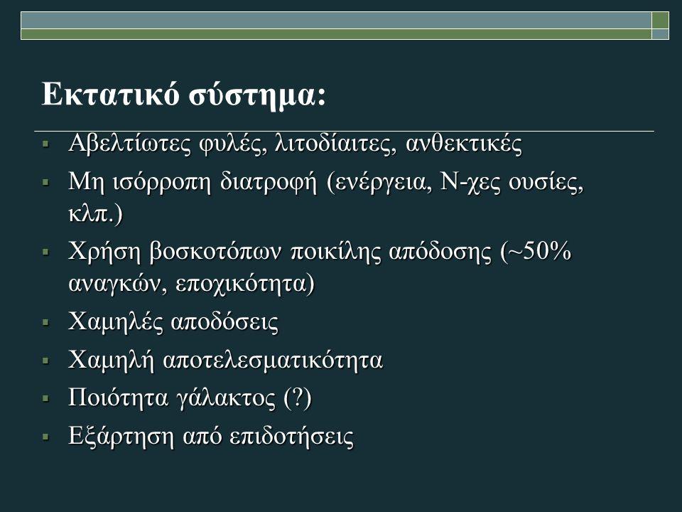 Εκτατικό σύστημα:  Αβελτίωτες φυλές, λιτοδίαιτες, ανθεκτικές  Μη ισόρροπη διατροφή (ενέργεια, Ν-χες ουσίες, κλπ.)  Χρήση βοσκοτόπων ποικίλης απόδοσης (~50% αναγκών, εποχικότητα)  Χαμηλές αποδόσεις  Χαμηλή αποτελεσματικότητα  Ποιότητα γάλακτος ( )  Εξάρτηση από επιδοτήσεις