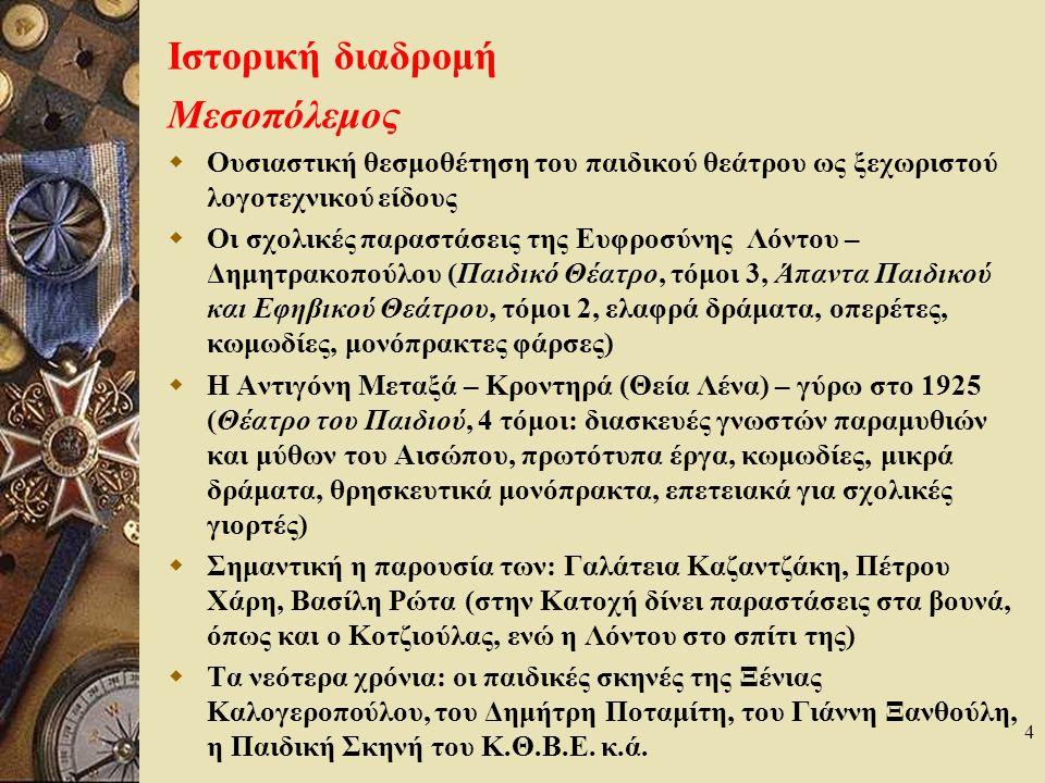 5 Θεματικό ρεπερτόριο σύγχρονου Π.Θ. Αρχαιογνωστικά έργα, π.χ.