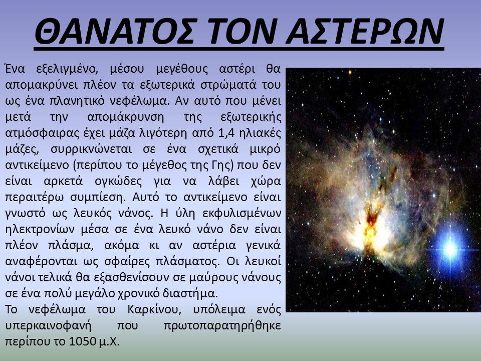 ΘΑΝΑΤΟΣ ΤΟΝ ΑΣΤΕΡΩΝ Ένα εξελιγμένο, μέσου μεγέθους αστέρι θα απομακρύνει πλέον τα εξωτερικά στρώματά του ως ένα πλανητικό νεφέλωμα.