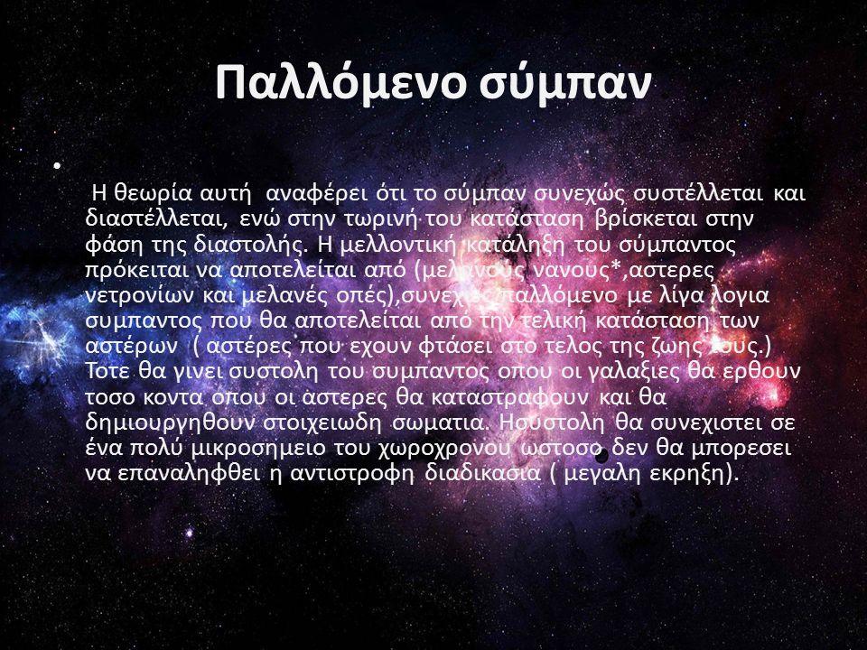 Παλλόμενο σύμπαν Η θεωρία αυτή αναφέρει ότι το σύμπαν συνεχώς συστέλλεται και διαστέλλεται, ενώ στην τωρινή του κατάσταση βρίσκεται στην φάση της διαστολής.