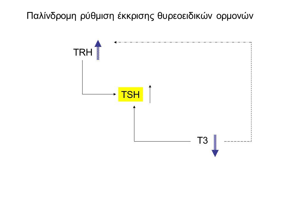 Παλίνδρομη ρύθμιση έκκρισης θυρεοειδικών ορμονών TSH TRH T3