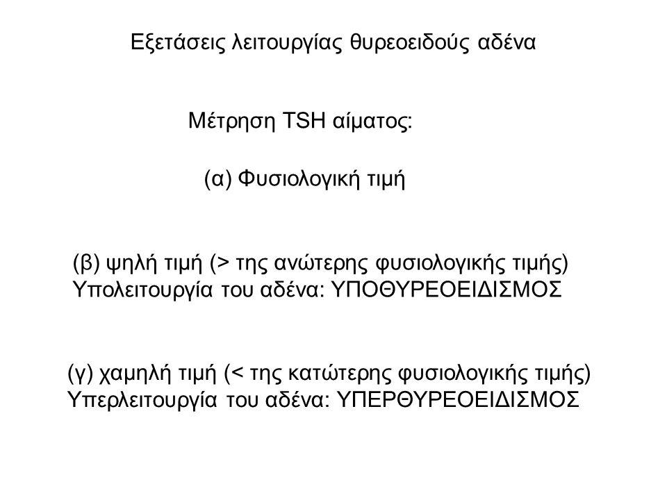 Εξετάσεις λειτουργίας θυρεοειδούς αδένα Μέτρηση TSH αίματος: (α) Φυσιολογική τιμή (β) ψηλή τιμή (> της ανώτερης φυσιολογικής τιμής) Υπολειτουργία του αδένα: ΥΠΟΘΥΡΕΟΕΙΔΙΣΜΟΣ (γ) χαμηλή τιμή (< της κατώτερης φυσιολογικής τιμής) Υπερλειτουργία του αδένα: ΥΠΕΡΘΥΡΕΟΕΙΔΙΣΜΟΣ