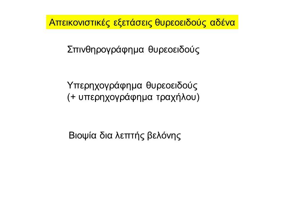 Απεικονιστικές εξετάσεις θυρεοειδούς αδένα Σπινθηρογράφημα θυρεοειδούς Υπερηχογράφημα θυρεοειδούς (+ υπερηχογράφημα τραχήλου) Βιοψία δια λεπτής βελόνης