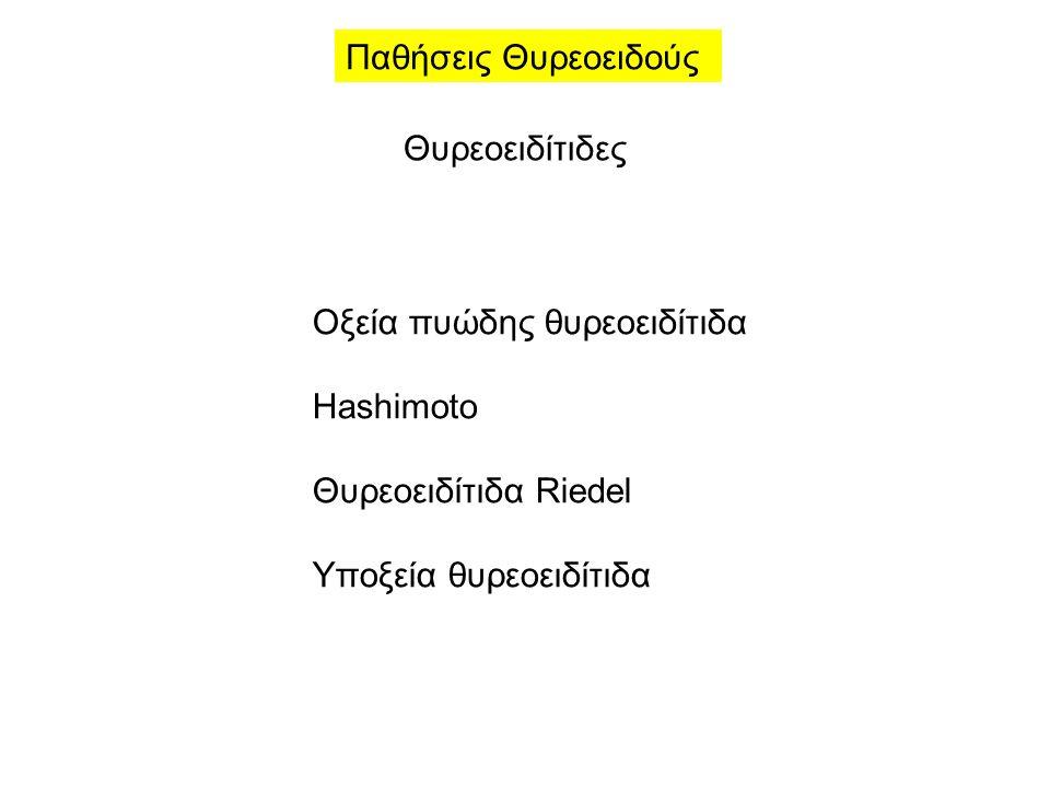 Παθήσεις Θυρεοειδούς Θυρεοειδίτιδες Οξεία πυώδης θυρεοειδίτιδα Hashimoto Θυρεοειδίτιδα Riedel Υποξεία θυρεοειδίτιδα