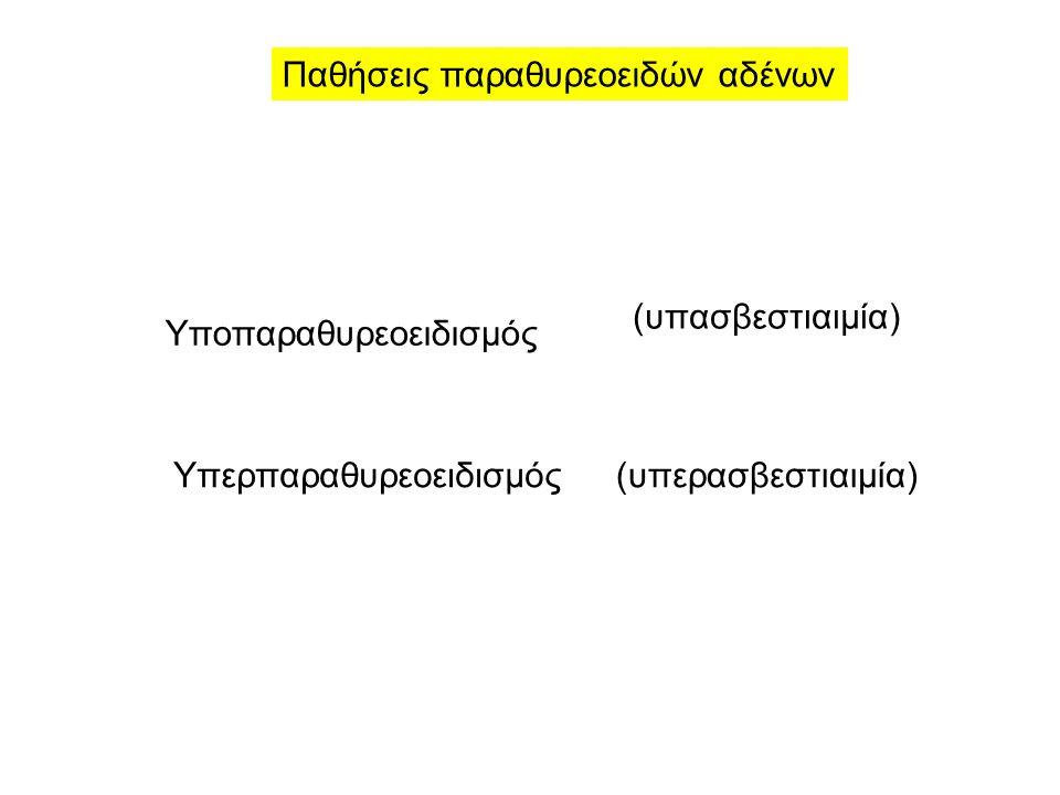 Παθήσεις παραθυρεοειδών αδένων Υποπαραθυρεοειδισμός Υπερπαραθυρεοειδισμός(υπερασβεστιαιμία) (υπασβεστιαιμία)