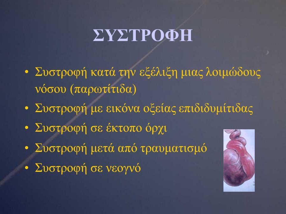 ΣΥΣΤΡΟΦΗ Συστροφή κατά την εξέλιξη μιας λοιμώδους νόσου (παρωτίτιδα) Συστροφή με εικόνα οξείας επιδιδυμίτιδας Συστροφή σε έκτοπο όρχι Συστροφή μετά από τραυματισμό Συστροφή σε νεογνό