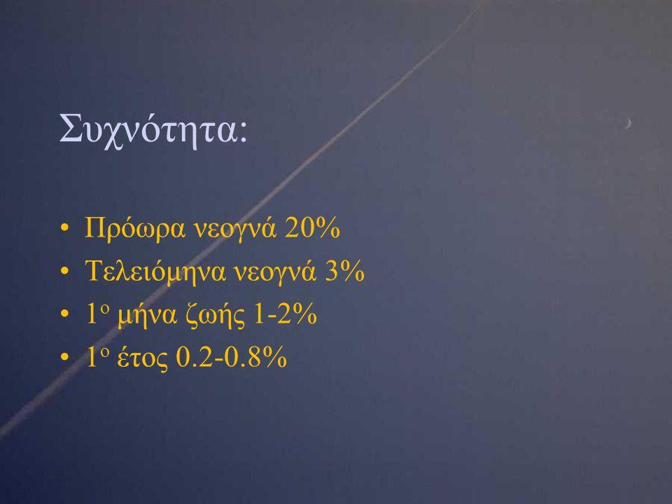 Συχνότητα: Πρόωρα νεογνά 20% Τελειόμηνα νεογνά 3% 1 ο μήνα ζωής 1-2% 1 ο έτος 0.2-0.8%
