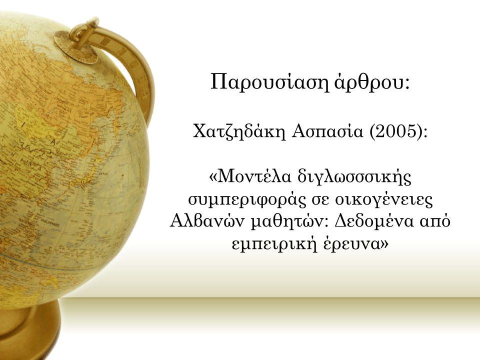 Η γλωσσική χρήση των παιδιών Το παιδί μου μιλά… Μόνο αλβανικά % Περισσότερο αλβανικά και λίγα ελληνικά % Το ίδιο συχνά και τις δύο γλώσσες % Περισσότερο ελληνικά και λίγα αλβανικά % Μόνο ελληνικά % Με γονείς… 23,9 24,6 23,222,55,8 Με τα αδέλφια του… 14,014,924,618,4 28,1 Με άλλα παιδιά από Αλβανία… 13,17,3 32,1 25,521,9 Με άλλους συγγενείς στην Ελλάδα… 14,6 25,5 24,119,716,1 Με άλλους Αλβανούς στην Ελλάδα… 18,5 28,1 18,521,513,3