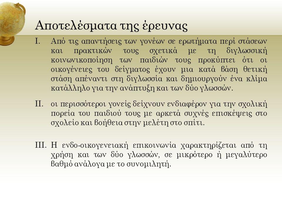 IV.Όσον αφορά τις γλωσσικές επιλογές των παιδιών, μολονότι η Αλβανική έχει αξιόλογα ποσοστά εμφάνισης με τους ενήλικους συνομιλητές, υποχωρεί αισθητά έναντι της Ελληνικής στην επικοινωνία μεταξύ συνομηλίκων (αδέλφια, ξαδέλφια, φίλοι).
