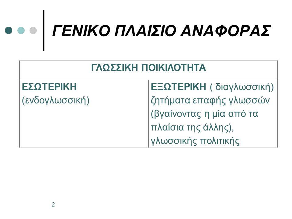 ΓΛΩΣΣΙΚΗ ΠΟΙΚΙΛΟΤΗΤΑ ΕΣΩΤΕΡΙΚΗ (ενδογλωσσική) ΕΞΩΤΕΡΙΚΗ ( διαγλωσσική) ζητήματα επαφής γλωσσών (βγαίνοντας η μία από τα πλαίσια της άλλης), γλωσσικής πολιτικής ΓΕΝΙΚΟ ΠΛΑΙΣΙΟ ΑΝΑΦΟΡΑΣ 2