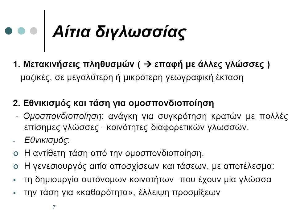 Αίτια διγλωσσίας 1.