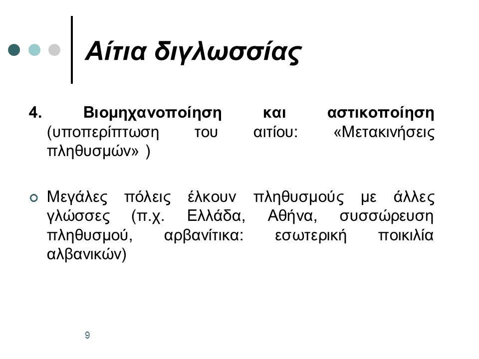 Αίτια διγλωσσίας 5.
