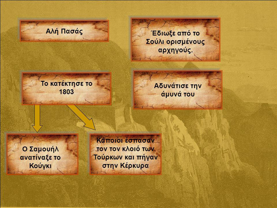 Αλή Πασάς Έδιωξε από το Σούλι ορισμένους αρχηγούς.