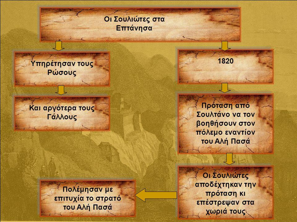 Οι Σουλιώτες στα Επτάνησα Υπηρέτησαν τους Ρώσους Και αργότερα τους Γάλλους 1820 Πρόταση από Σουλτάνο να τον βοηθήσουν στον πόλεμο εναντίον του Αλή Πασά Οι Σουλιώτες αποδέχτηκαν την πρόταση κι επέστρεψαν στα χωριά τους Πολέμησαν με επιτυχία το στρατό του Αλή Πασά