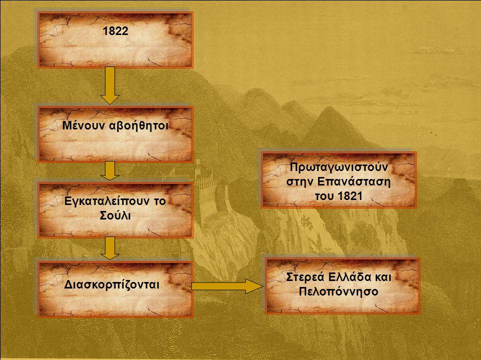 1822 Μένουν αβοήθητοι Εγκαταλείπουν το Σούλι Διασκορπίζονται Στερεά Ελλάδα και Πελοπόννησο Πρωταγωνιστούν στην Επανάσταση του 1821