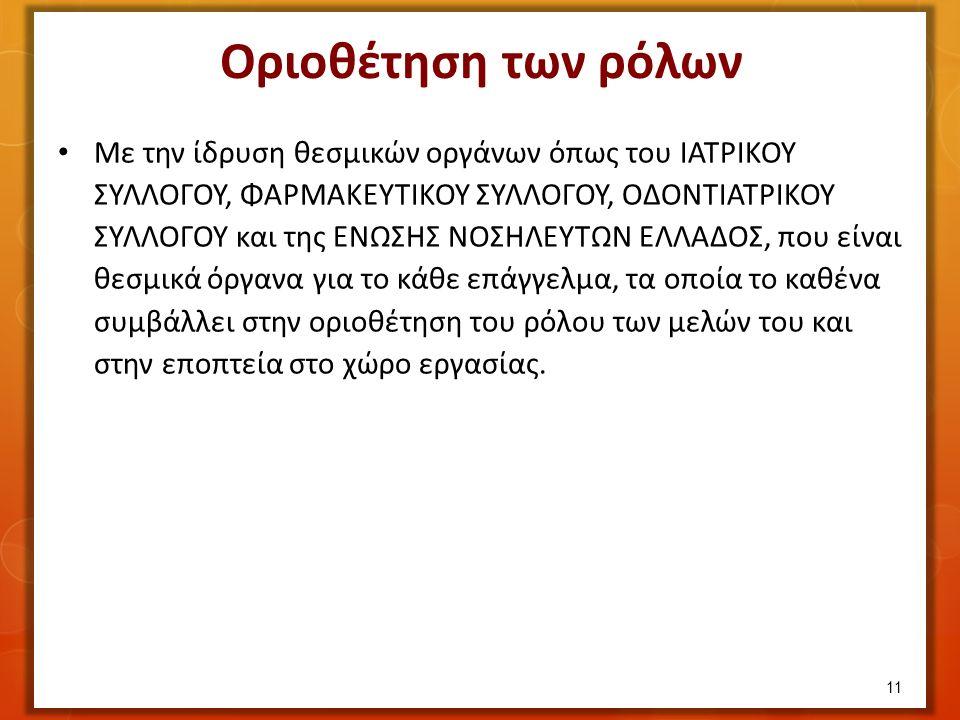 Με την ίδρυση θεσμικών οργάνων όπως του ΙΑΤΡΙΚΟΥ ΣΥΛΛΟΓΟΥ, ΦΑΡΜΑΚΕΥΤΙΚΟΥ ΣΥΛΛΟΓΟΥ, ΟΔΟΝΤΙΑΤΡΙΚΟΥ ΣΥΛΛΟΓΟΥ και της ΕΝΩΣΗΣ ΝΟΣΗΛΕΥΤΩΝ ΕΛΛΑΔΟΣ, που είναι θεσμικά όργανα για το κάθε επάγγελμα, τα οποία το καθένα συμβάλλει στην οριοθέτηση του ρόλου των μελών του και στην εποπτεία στο χώρο εργασίας.