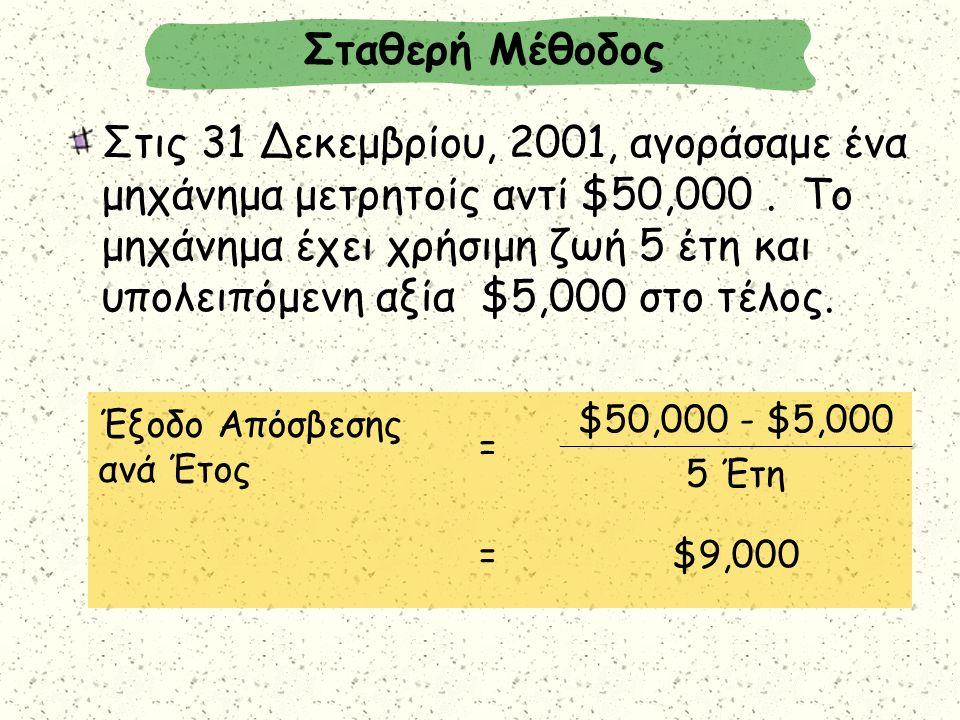 Στις 31 Δεκεμβρίου, 2001, αγοράσαμε ένα μηχάνημα μετρητοίς αντί $50,000. Το μηχάνημα έχει χρήσιμη ζωή 5 έτη και υπολειπόμενη αξία $5,000 στο τέλος. Στ