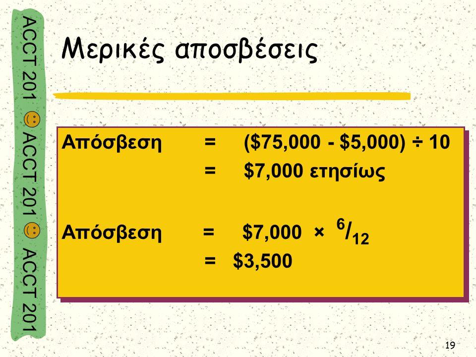 ACCT 201 ACCT 201 ACCT 201 19 Μερικές αποσβέσεις Απόσβεση= ($75,000 - $5,000) ÷ 10 = $7,000 ετησίως Απόσβεση = $7,000 × 6 / 12 = $3,500 Απόσβεση= ($75