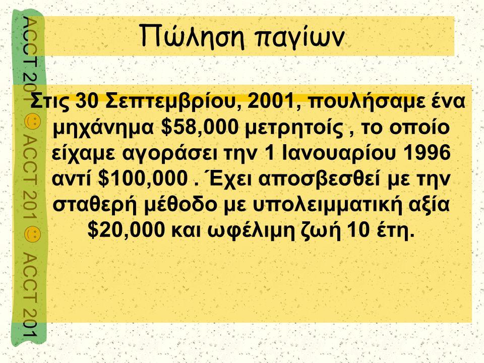 ACCT 201 ACCT 201 ACCT 201 Στις 30 Σεπτεμβρίου, 2001, πουλήσαμε ένα μηχάνημα $58,000 μετρητοίς, το οποίο είχαμε αγοράσει την 1 Ιανουαρίου 1996 αντί $1