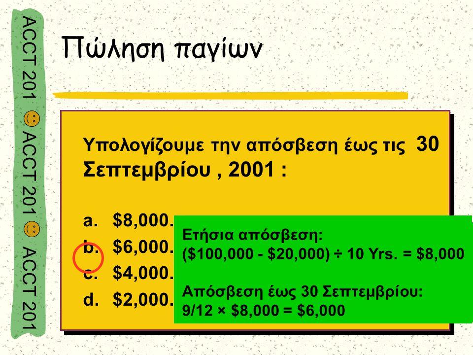 ACCT 201 ACCT 201 ACCT 201 Υπολογίζουμε την απόσβεση έως τις 30 Σεπτεμβρίου, 2001 : a.$8,000. b.$6,000. c.$4,000. d.$2,000. Υπολογίζουμε την απόσβεση