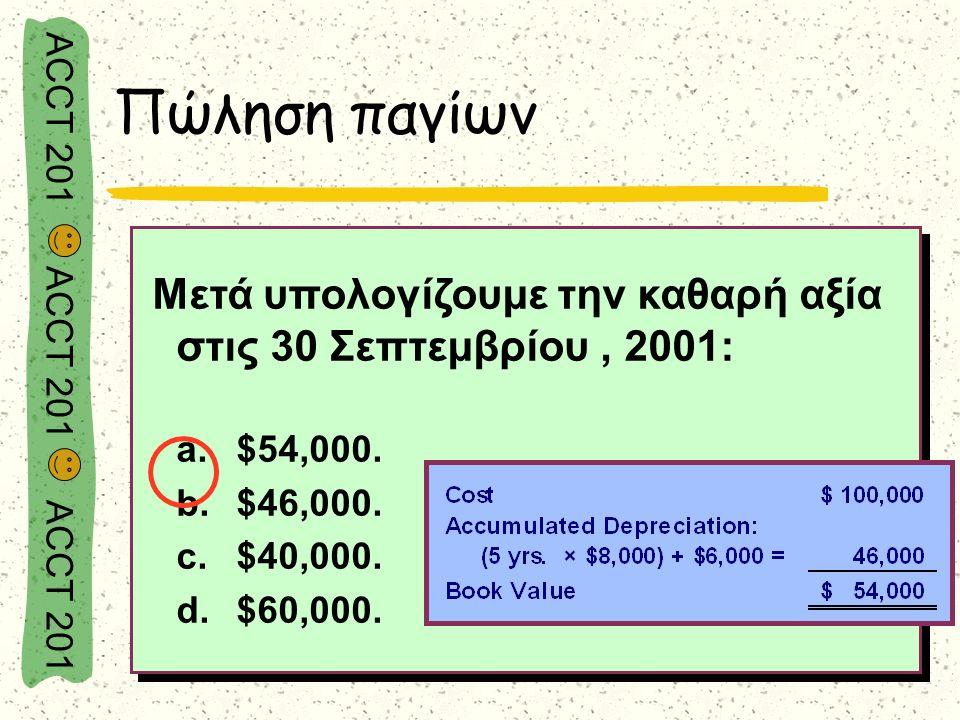 ACCT 201 ACCT 201 ACCT 201 Μετά υπολογίζουμε την καθαρή αξία στις 30 Σεπτεμβρίου, 2001: a.$54,000. b.$46,000. c.$40,000. d.$60,000. Μετά υπολογίζουμε