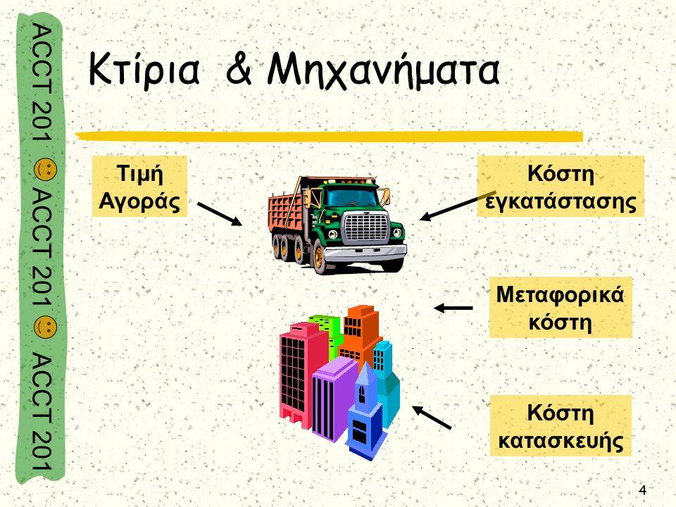 ACCT 201 ACCT 201 ACCT 201 4 Τιμή Αγοράς Κόστη κατασκευής Κόστη εγκατάστασης Μεταφορικά κόστη Κτίρια & Μηχανήματα