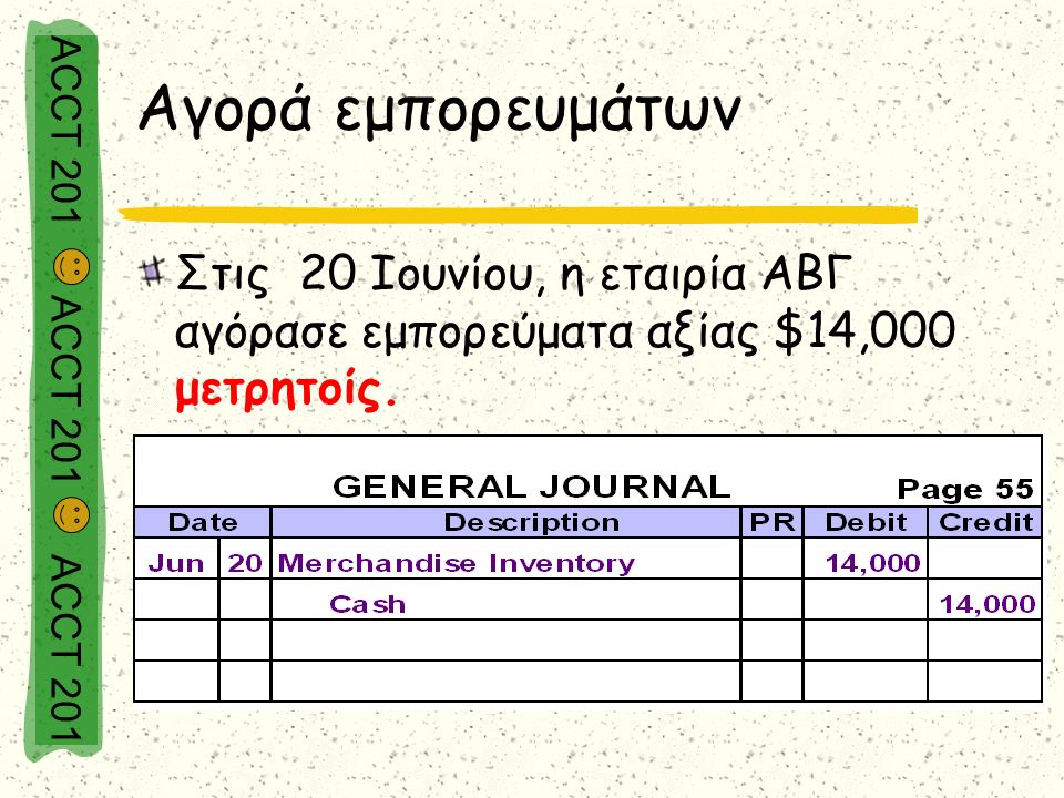 ACCT 201 ACCT 201 ACCT 201 Αγορά εμπορευμάτων Στις 20 Ιουνίου, η εταιρία ΑΒΓ αγόρασε εμπορεύματα αξίας $14,000 μετρητοίς.