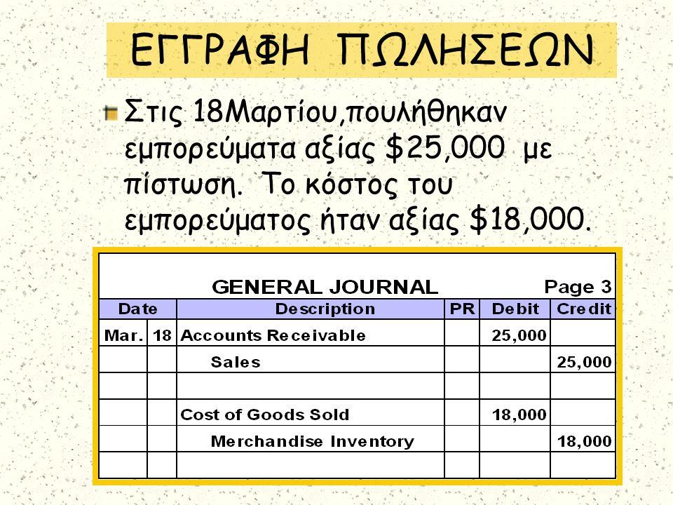 ΕΓΓΡΑΦΗ ΠΩΛΗΣΕΩΝ Στις 18Μαρτίου,πουλήθηκαν εμπορεύματα αξίας $25,000 με πίστωση. Το κόστος του εμπορεύματος ήταν αξίας $18,000.