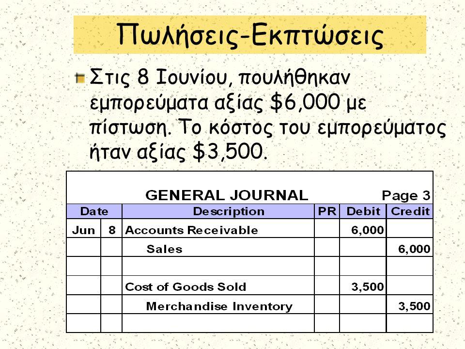 Στις 8 Ιουνίου, πουλήθηκαν εμπορεύματα αξίας $6,000 με πίστωση. Το κόστος του εμπορεύματος ήταν αξίας $3,500. Πωλήσεις-Εκπτώσεις