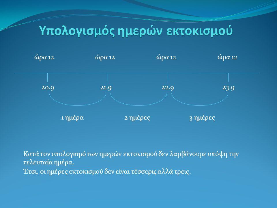 Υπολογισμός ημερών εκτοκισμού ώρα 12 20.921.922.923.9 1 ημέρα2 ημέρες3 ημέρες Κατά τον υπολογισμό των ημερών εκτοκισμού δεν λαμβάνουμε υπόψη την τελευταία ημέρα.